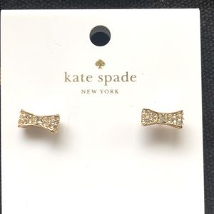 Kate Spade Clear Gold Ready Set Bow Mini Earrings